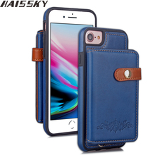 Haissky Cover For iPhone X Case Leather Wallet Velcro Flip Case For iPhone 6 7 8 Plus Case Thin Card Slots Coque(China)