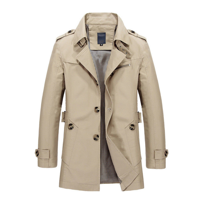 Korean Overcoat Khaki Black PLus size XXXL XXXXL 5XL british style Slim fit trench coat long men New Spring 2017 man Windbreaker (5)
