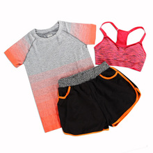 Women Sport Yoga Set Elasticity Fitness Suit Yoga Bra Short and Shirt Sport Wear Sport Suits Three Pieces