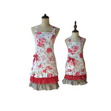 Mother and Daughter Women Kids Red Rose Floral Mommy and Me Ruffled Kitchen Apron Cooking Avental de Cozinha Divertido(China)