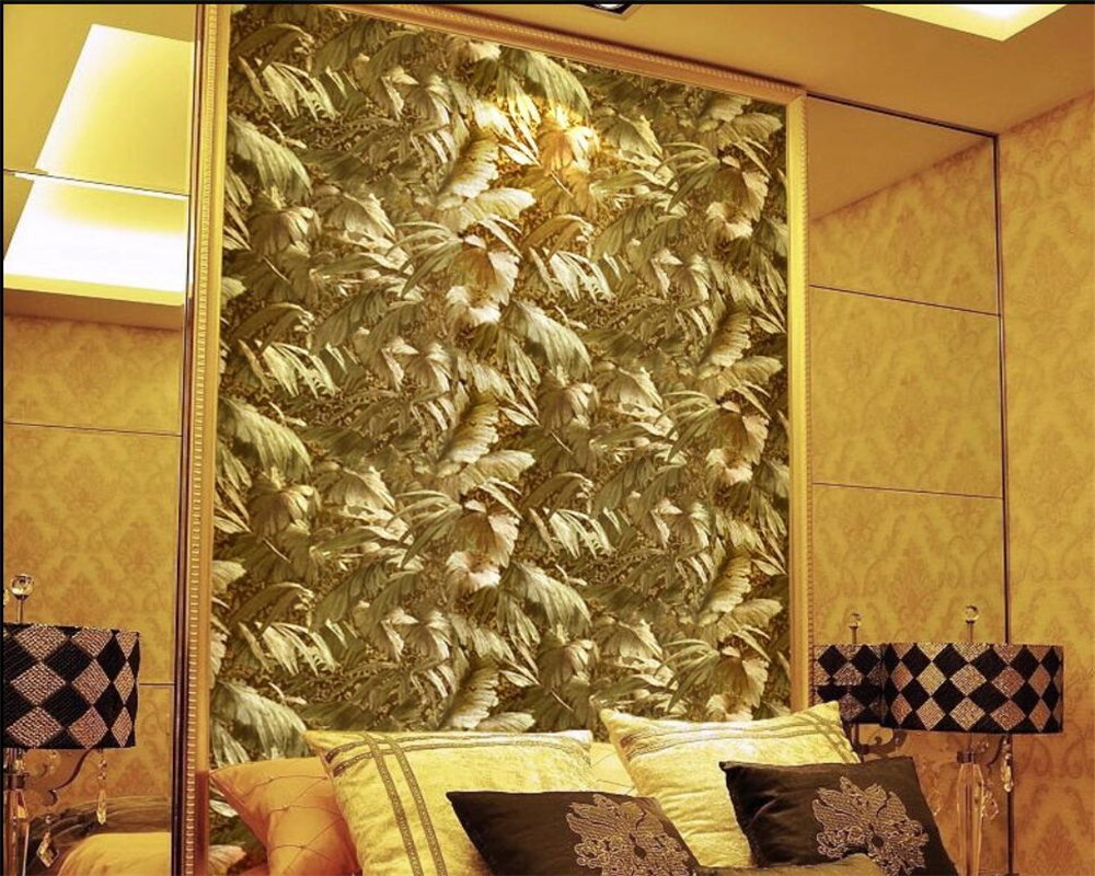 Beibehang Continental bright gold metallic reflective plant 3D wallpaper luxury living room TV background wallpaper tapety gold<br>