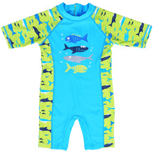2017 Summer New Design Kids Cartoon Sharks Rash Guards Sun Protection (UPF50+) Acrylic One Piece Swimsuit Beach Surfing Clothes