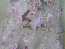 "53.1"" Wide Lavender/Pink 3D Flower Organza Fabric, Butterfly Printing Embroidery Fabric, Chiffon Gauze Fabric"