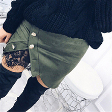 Buy New Fashion Women Ladies High Waist Pencil Skirts Button Lace Patchwork Sexy Bodycon Suede Leather Split Party Casual Mini Skirt for $7.89 in AliExpress store