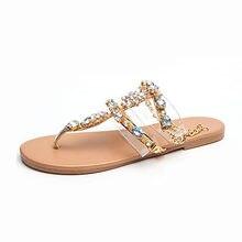 5fa673ca7 Mulher Sandálias de Verão Mulheres Sapatos Strass Cadeias Gladiador Tanga  Plana Sandálias de Cristal Chaussure Plus Size35-42 te.