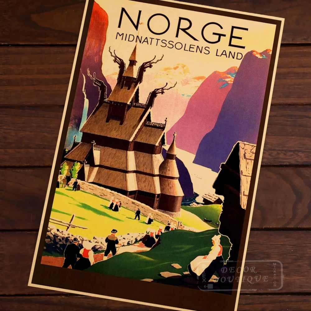 Detail feedback questions about norway norge midnattssolens land travel landscape vintage retro poster decorative wall canvas stickers posters bar home