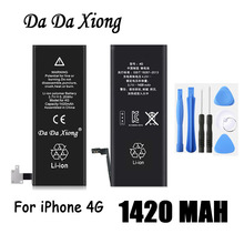 Original Da Da Xiong Battery For Apple iPhone 4 4G 1420mAh Real Capacity With Machine Tools Kit Replacement Batteries(China)