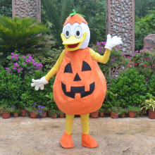 ohlees actual real picture Jack-o-Lantern Pumpkin Duck Mascot Costume Adult Size Outfit Plush Costumes Fancy Dress