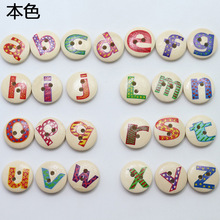 100pcs Green Wood English Letters Painted Buttons Wooden Cartoon Children Wooden DIY Accessories 15mm