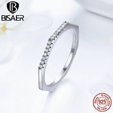 New Collection Trendy 925 Sterling Silver Geometric Rings for woman Clear CZ Finger Ring Wedding Engagement Jewelry GXR045(China)