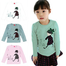 Wholesale Lovely Cozy Baby Girl Tops Shirt Kids Child Toddler Soft Cotton Fall T-Shirt Tee 2-7 Y