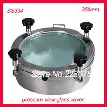 New arrival 350mm SS304 Circular manhole cover with pressure Round tank manway door  Full view glass cover with good connection