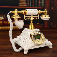 Crack gold retro telephone, European style lovely antique telephone, American classical machine wireless card Landline art gift(China)