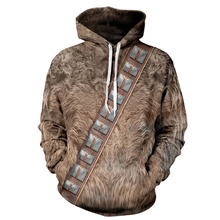 Punk Digital Print 3D Simulated Animal Hair Pattern Hoodie
