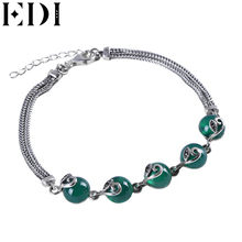 Buy EDI Sterling Silver Bracelet Women Jewelry Green Chalcedony Agate Silver Bracelet Bangles Bijoux Pulseiras Silver 925 Jewelry for $35.96 in AliExpress store