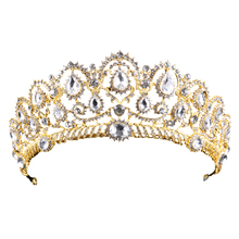 Vintage Gold tiara Crown Hot Sale Bridal Queen Wedding Crystal Crown Hair Jewelry Accessoires Woman Rhinestones Head Jewelry