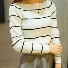 2017 Promotion All-match Slim Striped Knitting Women Sweater Pullover 2016 Spring Autumn Korea Long Sleeve Slash Neck Sweaters