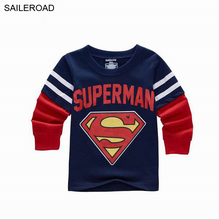 Spring Superman Children Kids Boys Long Sleeve T Shirt Cartoon Children's Clothing Girls T-Shirts Boys Wear Clothes SAILEROAD