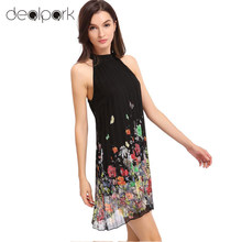 Summer Fashion Women Chiffon Pleated Dress Floral Print Sleeveless Cut Away Beach Mini Shift Dress Black Party Dresses