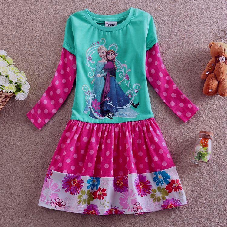 4-8Y 4 5 6 7 8 years children autumn girls cotton long-sleeves dress Girl cartoon  princess dress cartoon costume free shipping<br><br>Aliexpress