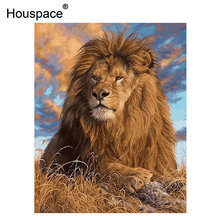 Houspace Diy Oil Painting By Numbers Kit Animal Lion Painting On Canvas Home Decoration Home Wall Art Picture Artwork 40x50cm