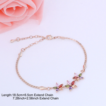 Fashion Mona Lisa Cubic Zircon Rose Gold Color Chain&Link Bracelets For Woman Flower Bracelet For Girl Gift pulseras mujer WB047