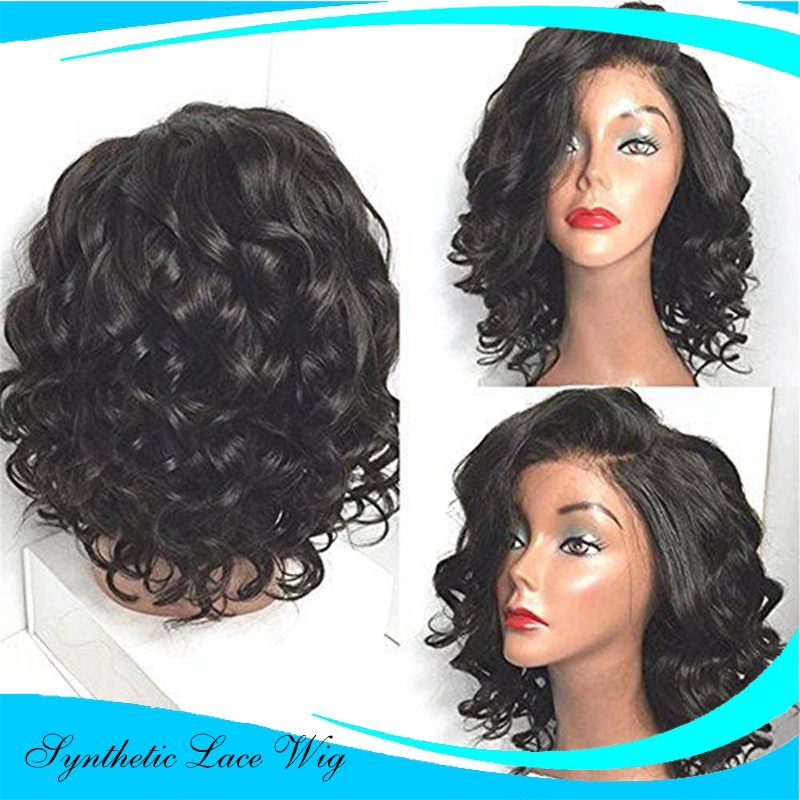 FreeShipping Heat Resistant loose Kinky curly Synthetic Lace Front Wigs Cheap Short Black Synthetic Lace Front Wig Baby Hair<br><br>Aliexpress