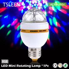 Best Price Cheap led mini crystal auto rotating colors changing light bulb party dj e27 3w rgb + Bulb Socket Edison Screw(China)