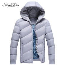 Men's Winter Coat Hooded Solid Fashion Thick Windbreaker Warm Casual Parkas Jacket Men Overcoat Brand Clothing 5XL DCT-090