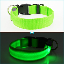 LED Nylon Dog Collar Dog Cat Harness Flashing Light Up Night Safety Pet Collars 7 Color S-XL Size Christmas Accessories