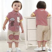cheap clothes online shop new 2014 fashion  baby boy clothes retail baby 2pieces  shortsleeve shirt+trousers