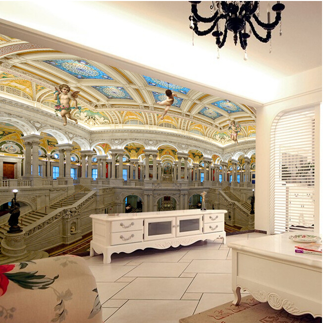 Latest custom 3D large mural,3 d european-style luxury palace angels  ,living room tv background bedroom wall wallpaper<br>