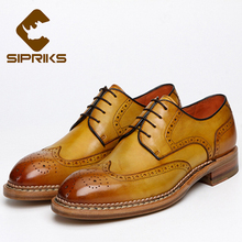Sipriks Luxury Mens Brogue Shoes Classic Wingtip Dress Shoes Vintage Norway Seam Shoes Business Formal Men Goodyear Welted Shoes(China)