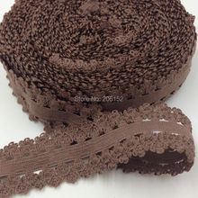 "10yards/Lot 7/8"" Picot Edged Stretch Lace, Frilly Edges Elastic Webbing, Lace for Headwear L25 Brown(China)"