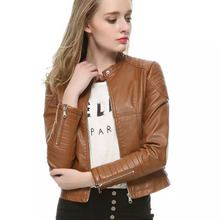 Leather Jacket Women Veste Autumn Fashion Women's Slim black Motorcycle Leather Jacket Winter Women PU Leather Trench Coat brown