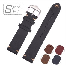 New Arrival Special Design Hand Stitching Vintage Genuine Leather Watchband Calfskin Watch Straps Different Colors