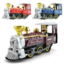 Alloy acoustic model steam train cartoon version children's kid toys Christmas New Year gift Collection of ornaments