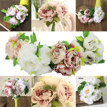 New 5 Head Artificial Peony Silk Flowers Hydrangea Wedding Bridal Peony Bouquets DIY For Home Wedding Decoration(China)