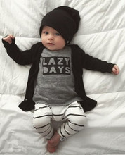 2017 Autumn Fashion Newborn Baby Boy Clothes Cotton Long sleeve Letter LAZY DAYS T shirt+Pants 2 Pcs Outfits Infant Clothing Set