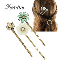 3pcs/set Vintage Hair Jewelry Antique Gold-Color with White Resin Green Rhinestone Flower Barrettes Hairwear Hair Accessories