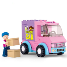 102pcs/set Pink Dream Supermarket Delivery Car Building Blocks Particles Bricks Girls Toys Compatible Brands Blocks