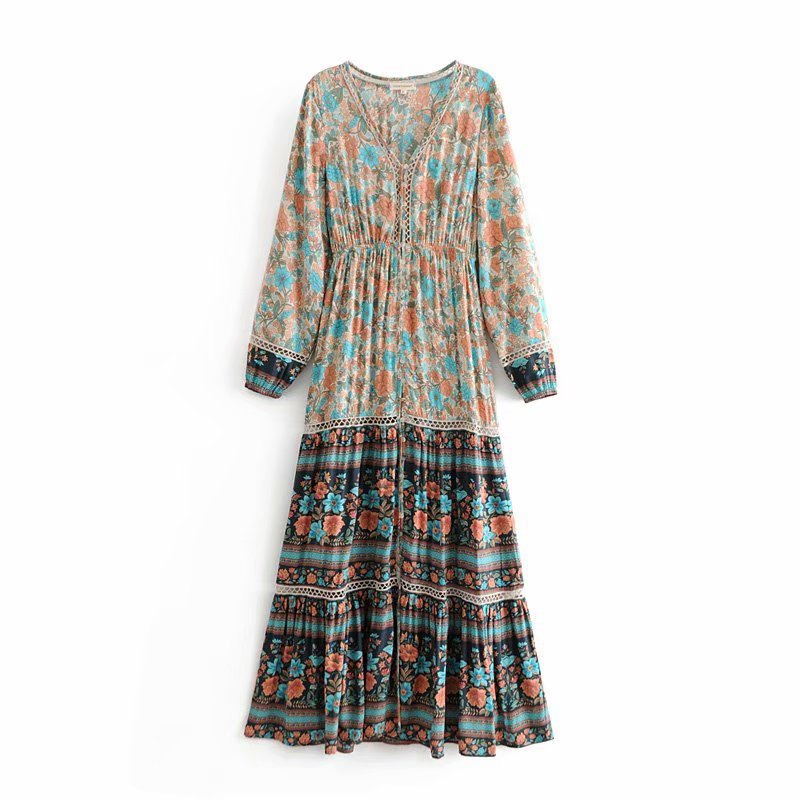 549aa0746da Women Vintage Boho Floral Print Maxi Dress 2019 Spring Long Sleeve ...