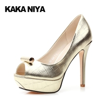 High Heels 12cm 5 Inch Extreme 4 34 Small Size 2017 Slip On Gold Women Party Shoes Silver Metal Stiletto Peep Toe Platform