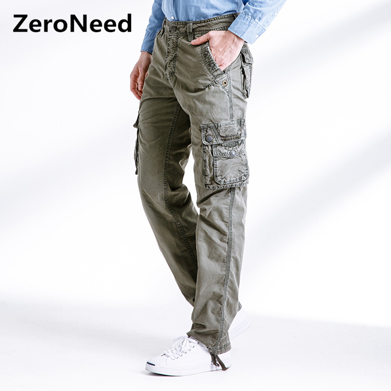Mens Cargo Pants Multi Pocket Casual Work Pant Outdoors Long Trousers Moto Sweatpants Men Baggy Military Army Green Joggers 289