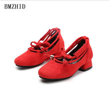 girl small high-heeled Performance dance shoes 2017 Fall girl suede bow tassel princess party shoes kids girl dress shoes child