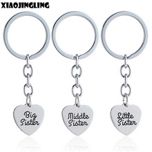 XIAOJINGLING Charm Keychain Keyring Girl Women Jewelry Sister Gifts Big Middle Litter Keyfob Birthday