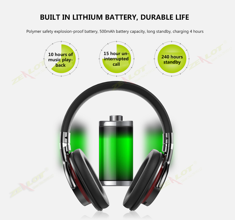 Original ZEALOT B5 Wireless Bluetooth Headphone TF Card Slot Earphone Foldable Headset With Microphone Hands-free Call FM Radio