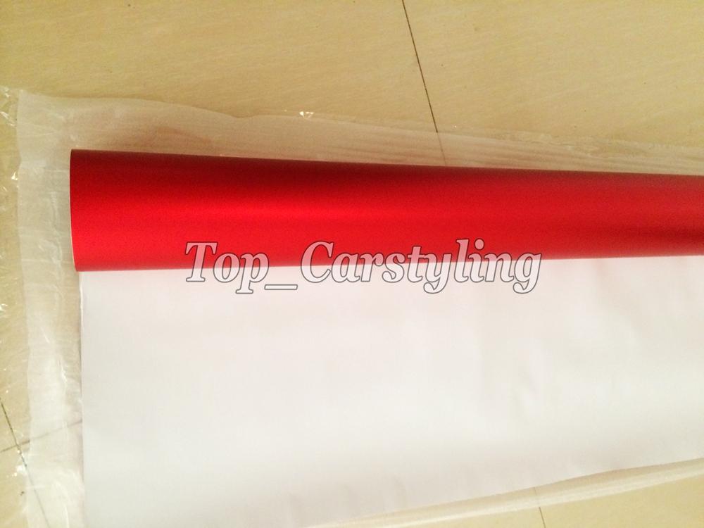 satin red Matte chrome vinyl metallic Matt alumium red car wrap sheets (3)