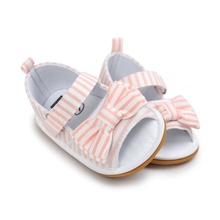 Newborn Baby Girls Bow Anti-slip Cotton Crib Shoes Summer Sandal Prewalker 0-18M