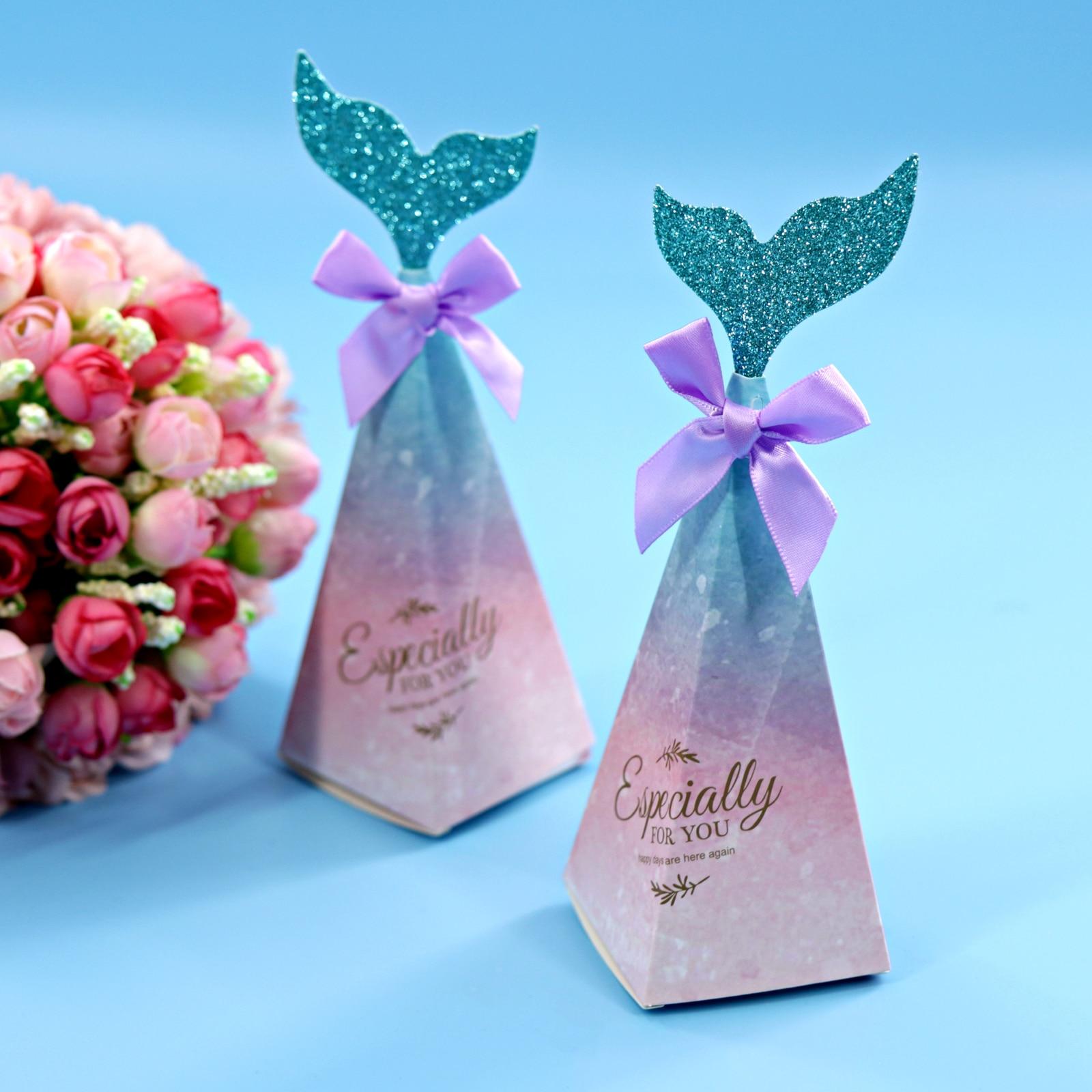 12pcs Mermaid Candy Box Paper Wedding Gift Box Baby Shower Birthday Favor Decor